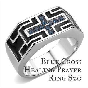 Stainless Steel Blue Cross Healing Prayer Ring